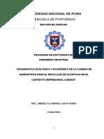 Diagnóstico Ecológico y Económico de La Cadena de Suministros Para El Reciclaje de Plásticos en El Contexto Empresarial Cubano
