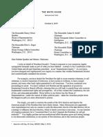White House Letter to Speaker Pelosi, Et Al. 10.08.2019