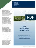 ACSI Restaurant Report 2018