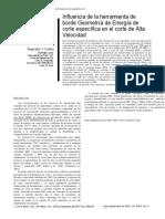 Influencia de la herramienta de borde Geometría de Energía de corte específica en el corte de Alta Velocidad