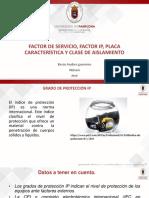 factor de servicio, placa de generador sincrono, factor ip y clasificación de los tipos de aislamientos.