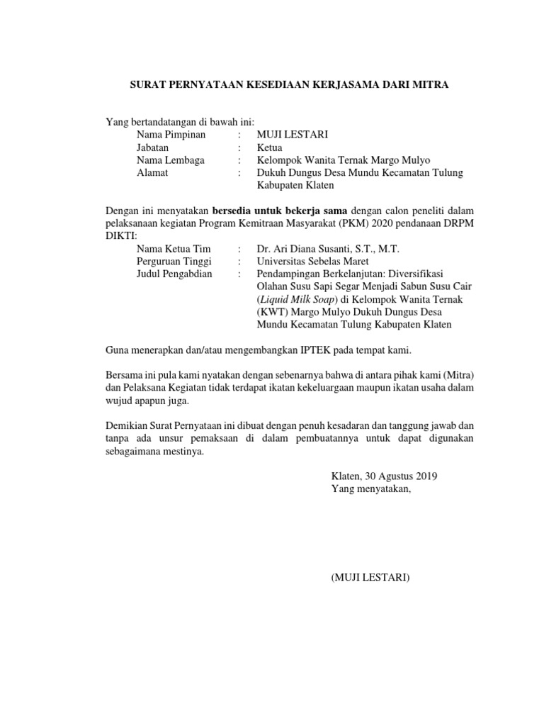 Surat Kemitraan Pkm 2020