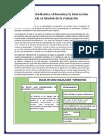 Roles de Los Estudiantes y Docentes en La Evaluacion