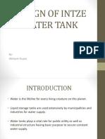 Design of Intze Water Tank