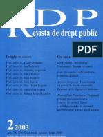 Prof. univ. dr. Ioan Alexandru_ Administraţia şi puterea politică (Revista de Drept Public nr. 2 din 2003)
