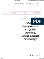Valve Characteristics - Quick Opening, Linear & Equal Percentage