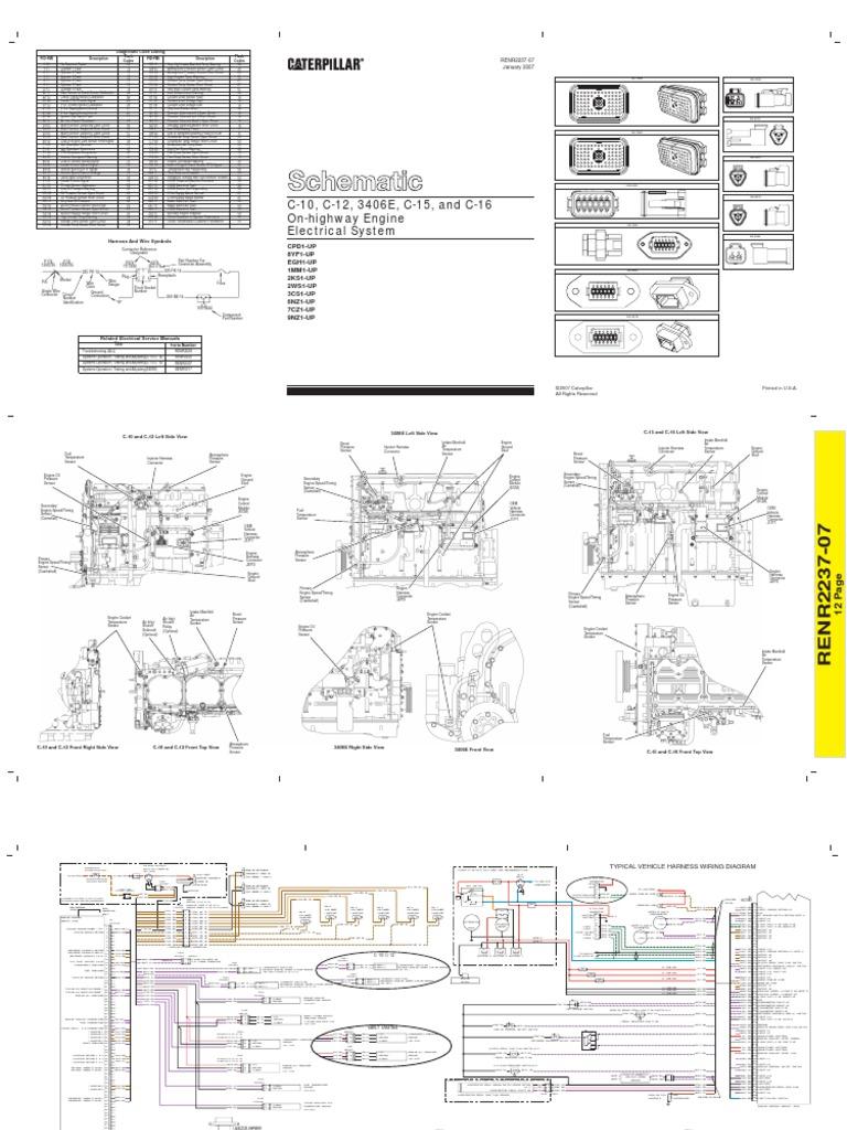 diagrama electrico caterpillar 3406e c10 c12 c15 c16 2 rh scribd com 3406 cat engine wiring diagram Cummins Jake Brake Wiring Diagram