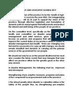 Executive and Legislative Agenda 2019