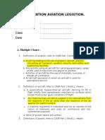 EXAMINATION AVIATION LEGISTION