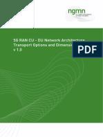 5G RAN CU - DU Network Architecture