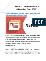 How to Download CA Intermediate Hall ticket 2019