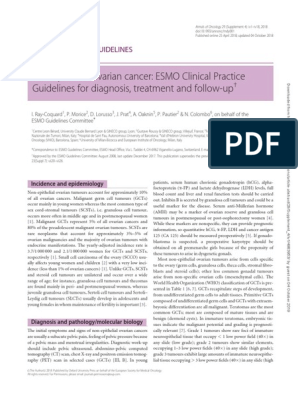 Non Epithelial Ovarian Cancer Esmo Clinical Practice Guidelines For Diagnosis Treatment And Follow Up Ovarian Cancer Metastasis