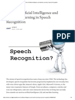 Role of Artificial Intelligence and Machine Learning in Speech Recognition