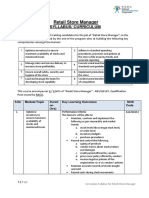 Curriculum Syllabus Template Level - 7 Retail Store Manager
