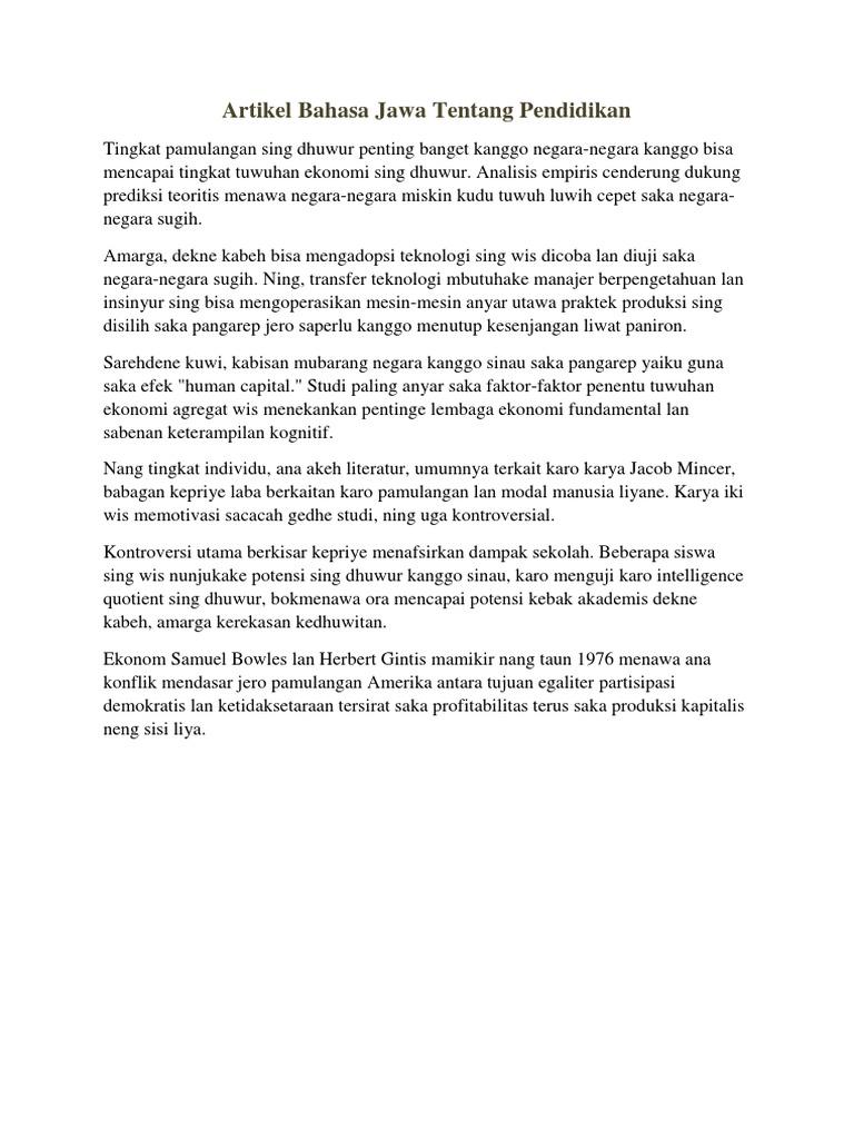 Artikel Bahasa Jawa Tentang Pendidikan