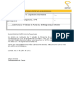 DPIP-memorando 5. Maratona de Programacao e Redes