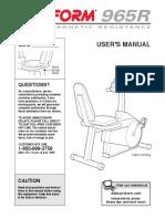 Pro-Form 965r Bike Manual