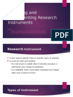 Preparing and Implementing Research Instruments
