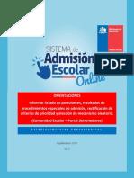 Informar Listado de Post, Result Proced Espec Adm, Rectif de Crit de Prior y Elección de Mecan Aleatorio.