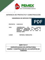 ESP-F-9117 DISEÑO Y CONSTRUCCIÓN DE LOS SOPORTES DE tuberia