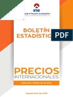 INSTITUTO NACIONAL DE ESTADÍSTICA (INE), PRECIOS INTERNACIONALES 2019