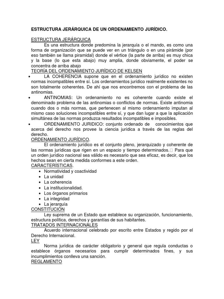 Estructura Jerárquica De Un Ordenamiento Jurídico