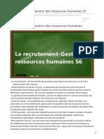 Fsjesglm-cours.blogspot.com-Le Recrutement Gestion Des Ressources Humaines S5