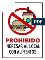 Cartel Prohibido Ingresar Con Alimentos