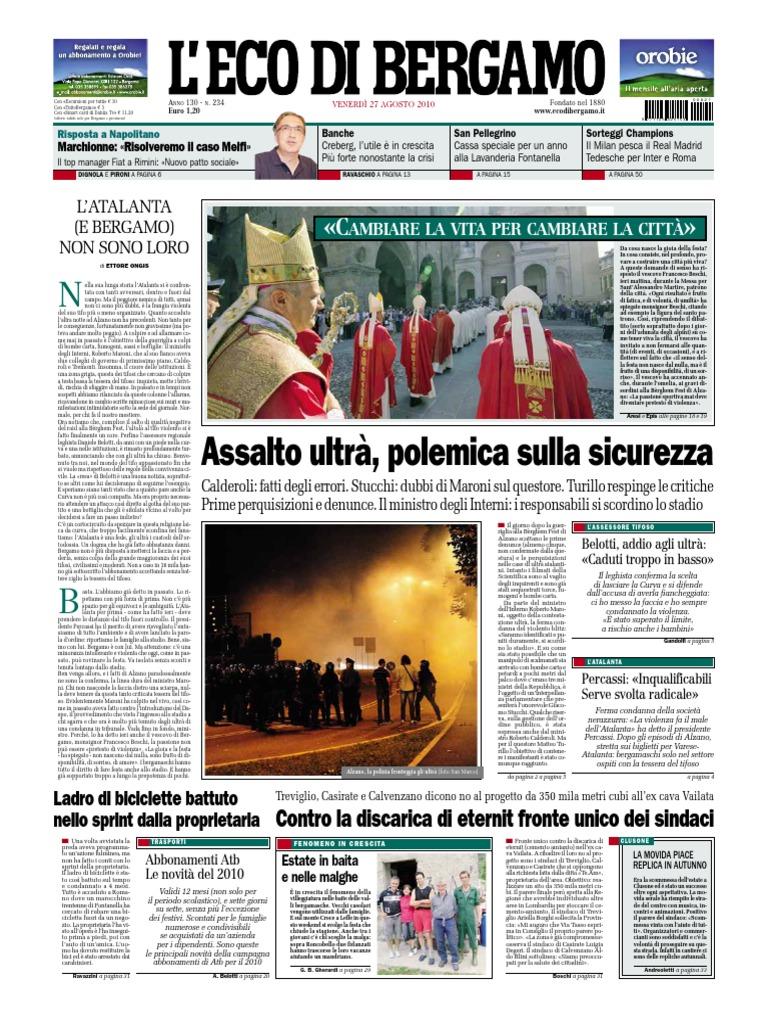 L Eco Di Bergamo 27 Agosto 2010