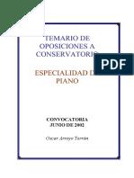 Temario Para Oposiciones Conservatorio Piano Comunidad de Madrid