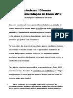 Educadores Indicam 13 Temas Possíveis Para Redação Do Enem 2019