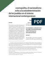 EL IDEAL COSMOPOLITA, EL NACIONALISMO Y EL DERECHO A LA AUTODETERMINACIÓN DE LOS PUEBLOS EN EL SISTEMA INTERNACIONAL CONTEMPORÁNEO. Ochoa y Regalado