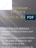 the relationship pf politics and political science