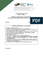 AP1 Matematica p Administradores 2019 1