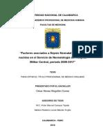 """""""Factores asociados a Sepsis Neonatal Temprana, nacidos en el Servicio de Neonatología del Hospital Militar Central, período 2009-2017"""""""