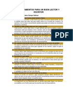 10 Mandamientos Para Un Buen Lector y Escritor