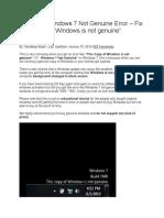 Windows 7 Not Genuine Error