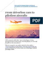From Driverless Cars to Pilotless Aircrafts