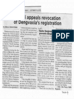 Philippine Star, Oct. 10, 2019, Sanofi appeals revocation of Dengvaxia's registration.pdf