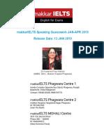 Makkar Speaking Jan-April 2019