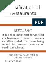 Classification of Restaurants