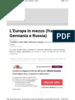 Http Www.limesonline.com Leuropa in Mezzo Fra Germania e Russ