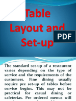 Standards of Table Set Up