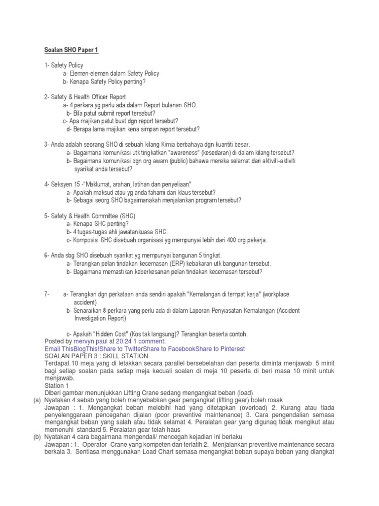 Soalan Sho Paper 1