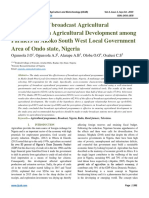 Effectiveness of broadcast Agricultural Programmes on Agricultural Development among Farmers in Akoko South West Local Government Area of Ondo state, Nigeria