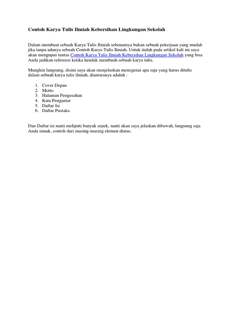 Contoh Karya Tulis Ilmiah Kebersihan Lingkungan Sekolah