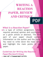 Writing a Reaction Paper, Review and Critique