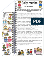 Daily Routines for Students Elementary With Key Picture Dictionaries Reading Comprehension Exercis 63955