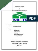 Internship Report MCB Bank 1