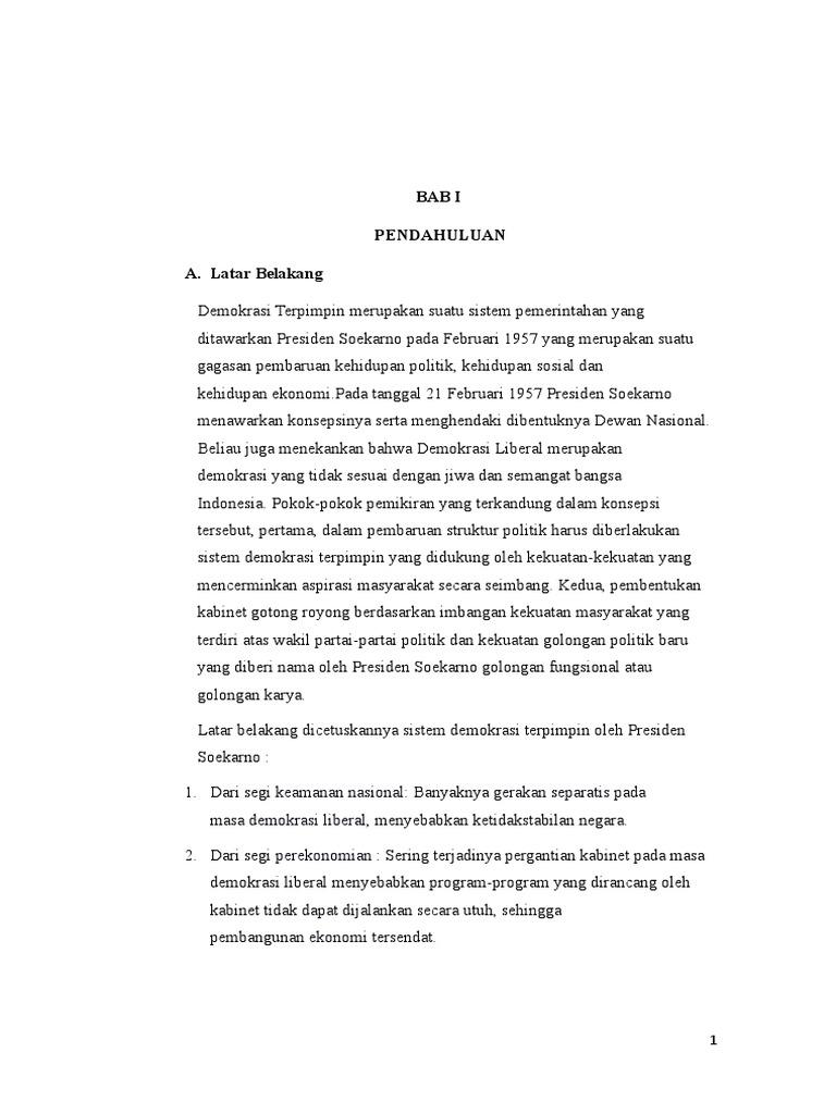 Dinamika Politik Masa Demokrasi Terpimpin Docx